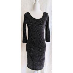 Topshop Sexy Herringbone Metallic Black Dress